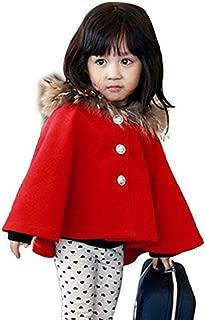 Kids Girls Wool Blend Hoodie Capes Poncho Children Fall Winter Outwear