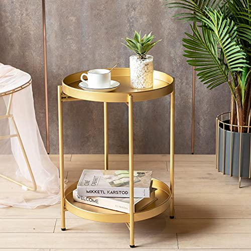"""FUNME Gold Folding End Table 2-Tier Metal Round Side Table with Removable Tray for Living Room,(15.2""""Dx20""""H)"""