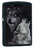 Zippo Wolf - Mechero de Gasolina, latón, Negro Mate, 1 x 6 x 6 cm