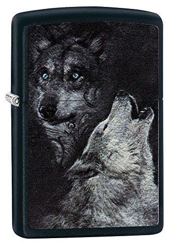 Zippo Wolf Benzinfeuerzeug, Messing, Black Matte, 1 x 6 x 6 cm