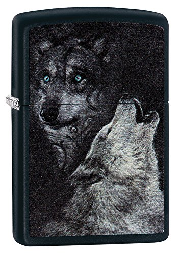 Zippo Wolf Lighter, Metal, Silver, One Size