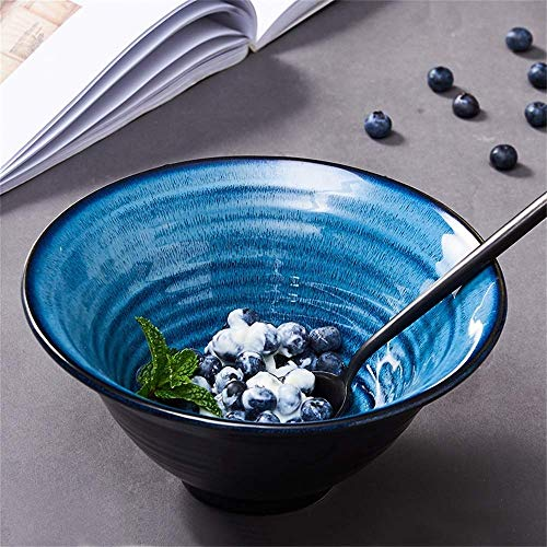 GAOFQ Tableware, Tools for Dining Large Capacity Salad Bowl Soup Bowl Ramen Noodle Bowl Mixing Bowl Fruit Snack Dessert Cereal Bowl Creative Ceramic Tableware Serving Bowl Inches Blue,9.5 inches
