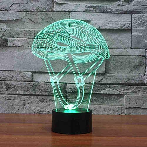RJGOPL 3D LED mountainbike helm nachtlicht creatieve lamp voor sportruimtes tafellamp huisverlichting kleurverandering geschenken voor kinderen