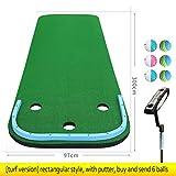 Golf Golf Putting Mat Putting-Matte for den Heimgolfplatz, Putting-Matte for das Indoor- und Outdoor-Training - Verbessern Sie Ihren Putting-Schlag in Ihrem eigenen Heim, kostenloses Putter und 6 Golf -