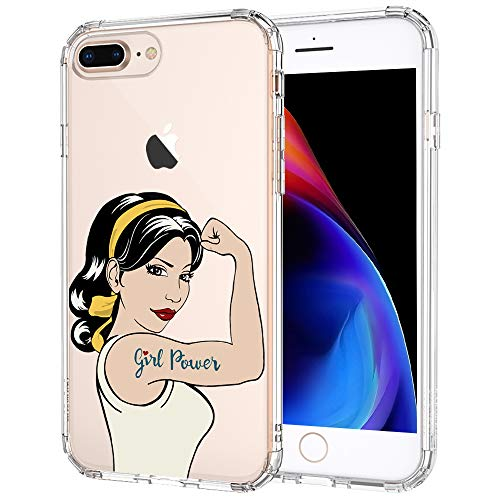 MOSNOVO iPhone 8 Plus Case, iPhone 7 Plus Case, Girl Power Pattern Printed Clear Design Transparent Plastic Hard Back Case with TPU Bumper Protective Case Cover for iPhone 7 Plus iPhone 8 Plus