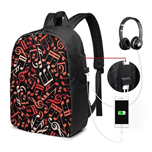 Funny Z Zaino per Laptop da Viaggio Note Musicali Rosse Zaini da Lavoro per Computer con Porta di Ricarica USB Zaino per La Scuola Unisex Zaino per Escursioni Casual