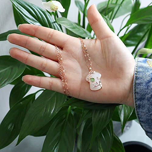 Shawari Tendencia joyería de Acero Inoxidable Mujer Blanco Hetian Jade Cheongsam Colgante Plateado Collares de Cadena para Mujeres