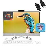 2020 HP 27 Flagship All in One Desktop Computer 27'FHD IPS Touchscreen Display AMD Hexa-Core Ryzen 5 4500U (Beats i7-8550U) 32GB DDR4 1TB SSD Keyboard Mouse WiFi Webcam Win 10 + iCarp HDMI Cable