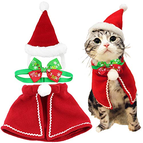 Wiz BBQT Cute Dog Cat Pet Christmas Santa Cloak Costume and Collar Bow Tie for Puppy Kitten Small Cats Dogs Pets (A)