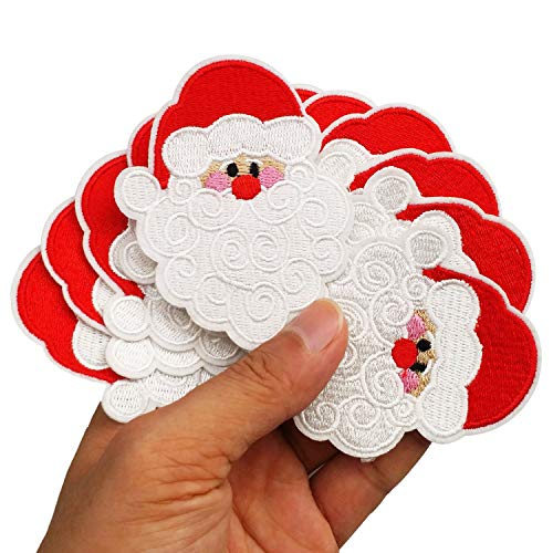 """3.1""""x3.1"""" 12pcs Christmas X'Mas HoHoHo Santa Claus Iron On Sew On Cloth Embroidered Patches Appliques Machine Embroidery Needlecraft Projects"""