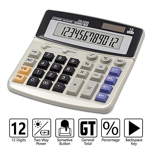 Calculator,12-Digit Desktop Basic Calculator, Solar Battery Dual Power with Large LCD Display and Large Buttons Office Calculator by Ebristar (JP01251A)