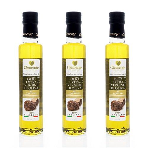 Aceite Clemente - 3 Botellas de Aceite de Oliva Virgen Extra 100% Italiano, Aromatizado a la Trufa, 250 ml