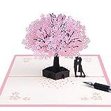 Tarjeta 3D hecha a mano con amantes románticos debajo del árbol de cerezo, tarjeta de felicitación de boda para esposa, marido, novia, madre y novia