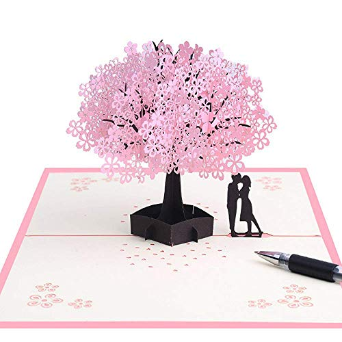 Tarjeta 3D hecha a mano con amantes románticos debajo del árbol de...