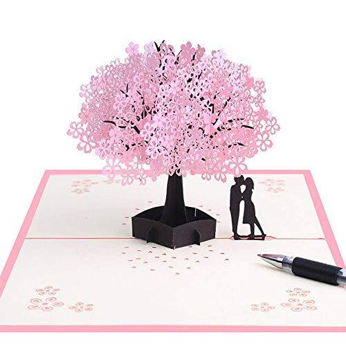 Tarjeta 3D hecha a mano con románticos amantes bajo cerezo, tarjeta de felicitación de boda para esposa, marido, novia, novia y madre