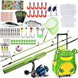 Dr.Fish Kids Fishing Rod and Reel Full Kit Spinning Fishing Pole with Rolling Backpack Complete Outfit Fishing Tackles Lures Equipment for Kids 4-8 Boys Girls