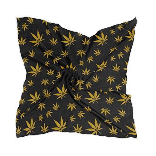 Bufanda de seda con estampado de flores de cannabis dorada, hoja de marihuana, pañuelo cuadrado, 60 cm x 60 cm