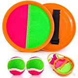 Qrooper Toss and Catch Beach Game Outdoor Toy for Kids and Adults Paddle Ball Throw Catch Game with 2 Paddles 2 Balls and 1 Storage Bag (Orange)