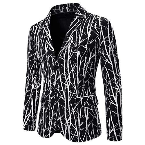 Tefamore Trajes para Hombres de Boda Chaquetas Charm Encanto Casual Apto Fit Suit Traje Blazer Abrigo Fiesta Chaqueta Estampada