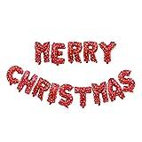 Vi.yo. Ballon Décoration De Noël Film en Aluminium Ballons Joyeux Noël Lettre Bannière Étoile Ballon Père Noël Balloon Tree 53CM Rouge