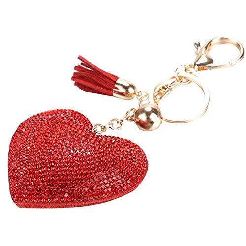 siqiwl Llavero romántico deslumbrante con diamantes de imitación amor corazón encanto colgante de flecos llavero borla llavero bolsa colgante llavero coche llavero