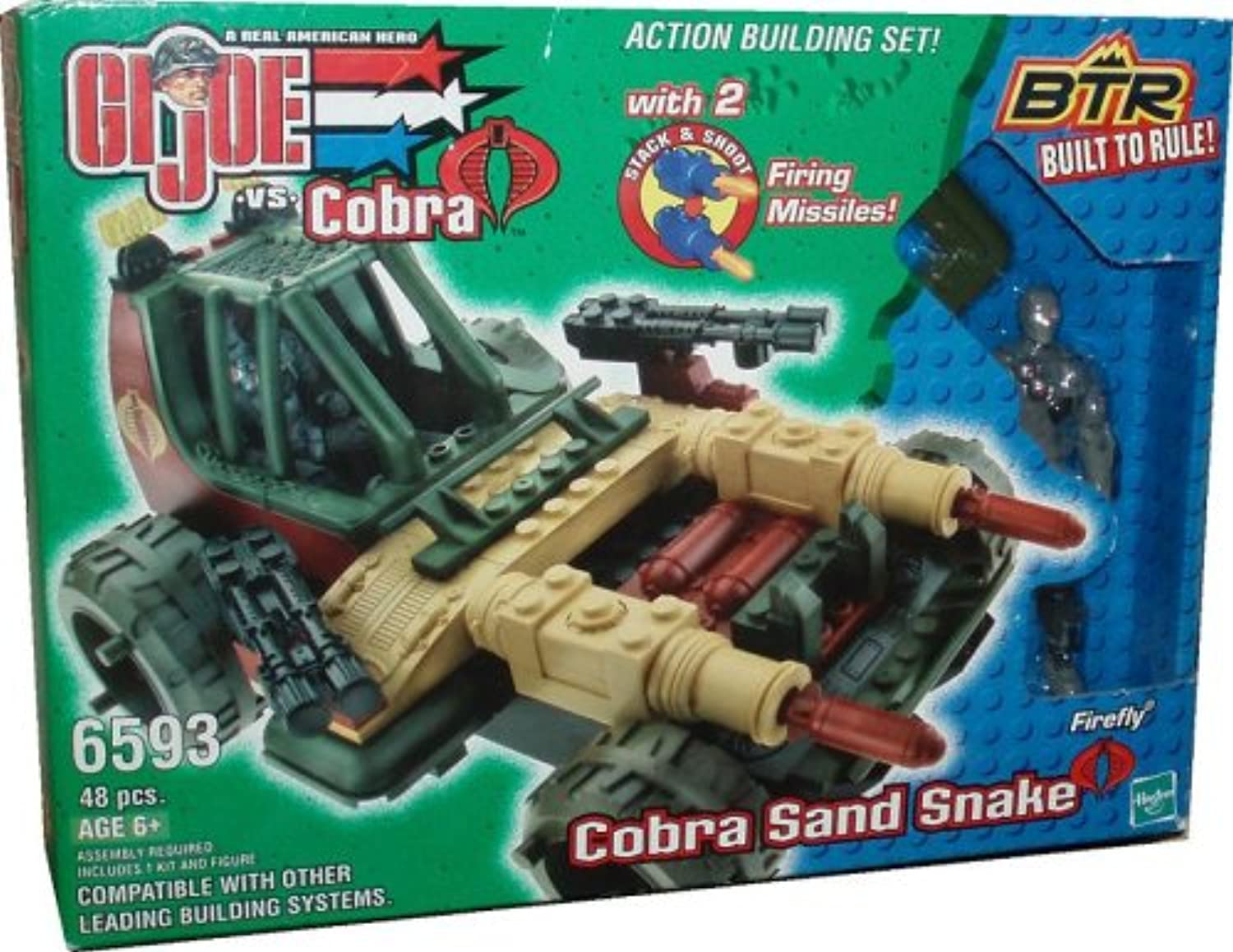 G.I. Joe vs Cobra Year 2003 Built to Rule BTR Action Building Set Vehicle  Cobra Sand Snake with 2 Firing Missiles and 4 Inch Tall Firefly Figure