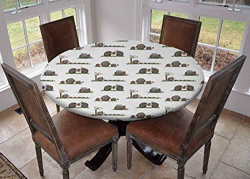 Ronde tafelkleed keuken decoratie, tafelblad met elastische randen, Illustratie van Spiky Dieren met Oranje Tassen Subtiele glimlach en bladeren Oranje Bleke Grijs Wit, outdoor tafelkleed