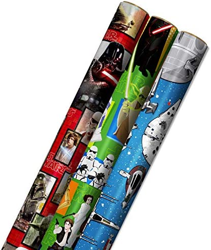 Hallmark Star Wars Wrapping Paper with Cut Lines on Reverse 3 Pack 60 sq ft ttl with Yoda Darth product image