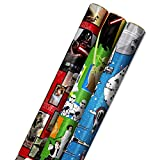 Hallmark Star Wars Wrapping Paper with Cut Lines on Reverse (3-Pack: 60 sq. ft. ttl) with Yoda, Darth Vader, Chewbacca, R2-D2, C-3PO, Stormtroopers, X-Wing, Millennium Falcon