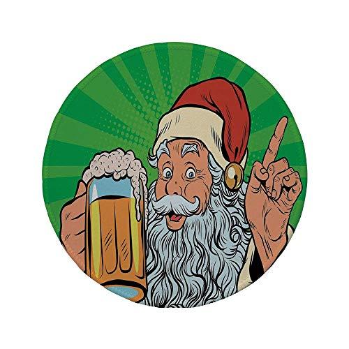 Rutschfreies Gummi-rundes Mauspad Man Cave Decor Weihnachtsmann mit Bier Pop Art Retro Comic-Stil Feiertage Neujahr Weihnachten dekorativ mehrfarbig 7,87 'x 7,87' x 3 mm