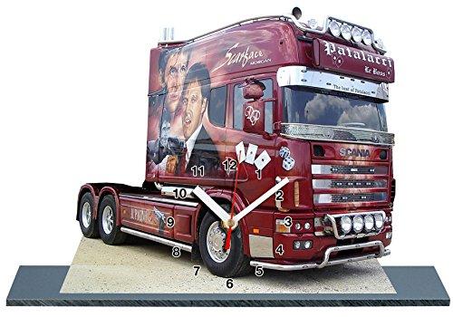 auto-horloge Lastkraftwagen, Truck, Scania Scarface Miniatur MODELLAUTOS in der Uhr 17