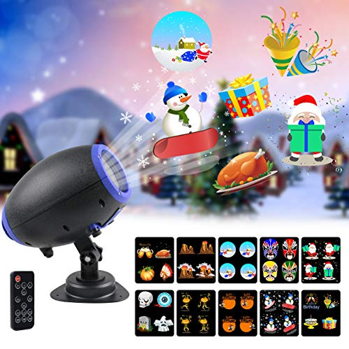 UOOYOO Christmas Projector Lights, 10 Slides Animated Projector Outdoor Light Waterproof Landscape Lighting for Christmas, Party, Thanks Giving, Birthday, with Wireless Remote