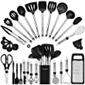 Kitchen Utensil Set-Silicone Cooking Utensils-33 Kitchen Gadgets & Spoons for Nonstick Cookware-Silicone and Stainless Steel Spatula Set-Best Kitchen Tools, Useful Pots and Pans Accessories from BESTZMWK