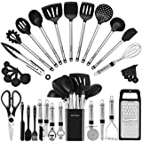 Kitchen Utensil Set-Silicone Cooking Utensils-33 Kitchen Gadgets & Spoons for Nonstick Cookware-Silicone and Stainless Steel Spatula Set-Best Kitchen Tools, Useful Pots and Pans Accessories