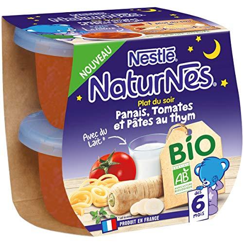 Nestlé Naturnes Bio Purée bébé Panais, Tomates,Pâtes au Thym Dès 6 mois 2x190g