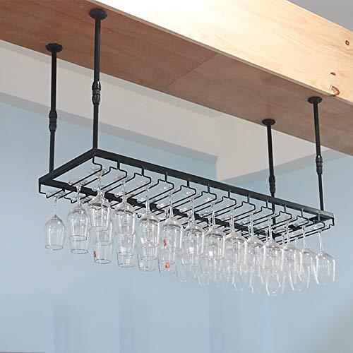 JHGJBJ Weinglashalter, Eisen Regal Hängedachträger-Halter Dekoration, Regal Wand von Küche Bar Bodega, Schwarz