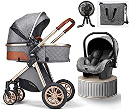 Baby Carriage Stroller Letaten 3 in 1 Foldable Baby Stroller Travel System with Car Seat Easy Fold Stroller Footmuff Blanket Cooling Pad Rain Cover Backpack Mosquito Net (Color : Gray)