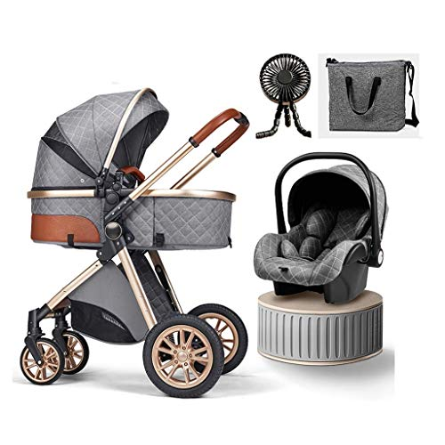 JIAX Baby Carriage Stroller 3 in 1 Foldable Baby Stroller Travel System with Car Seat Easy Fold Stroller Footmuff Blanket Cooling Pad Rain Cover Backpack Mosquito Net (Color : Gray)