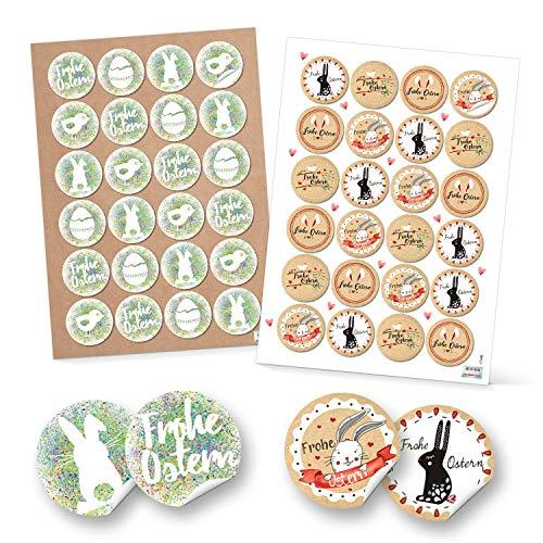 Logbuch-Verlag Lot de Stickers pour Lapin de Pâques Motif : Grenouille Rouge/Blanc/Vert, Papier, Lot de 48