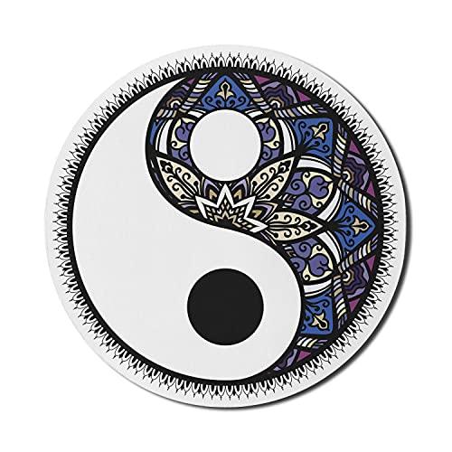 Alfombrilla de ratón Yin y Yang para ordenadores, motivo de karma con Mandala Chakra Yoga Tao Tradition, alfombrilla de ratón redonda antideslizante de goma gruesa para juegos moderna, redondo de 8 ',