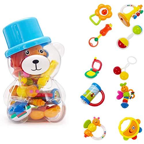 KiMiLIKE 10 Stück/Set Zufällig Farbe Baby Beißring Rasseln Spielzeug Früh Pädagogisch Spielzeug Geschenk für Neugeborenes Kleinkind Baby Kind