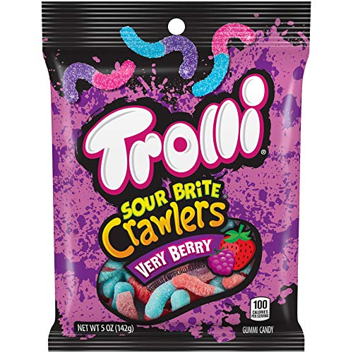 Trolli Sour Brite Crawlers Very Berry, 5 Ounce, Pack of 12