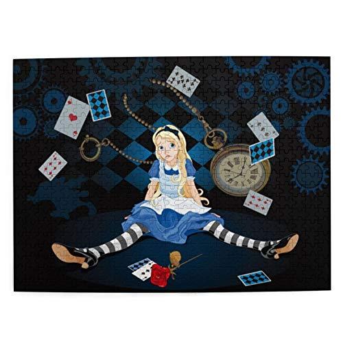 MAYUES Rompecabezas Puzzle 500 PiezasAlicia en el país de Las Maravillas tamaño Adulto Alicia sentada con Cartas voladoras y Dibujos Animados de Inteligencia Jigsaw Puzzles para Adultos Niños Juegos