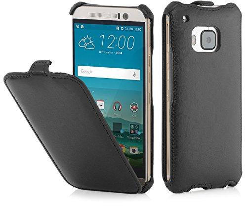 StilGut Slim Hülle, Tasche Hülle kompatibel mit HTC One M9, schwarz glatt