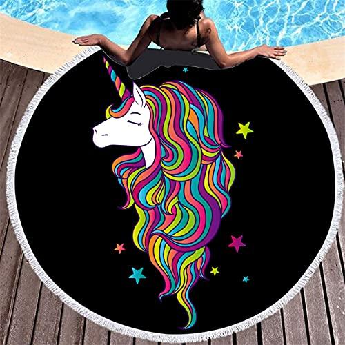 Toalla De Playa Redonda con Estampado De Animales De Dibujos Animados, Patrón De Impresión Digital, Tapete De Playa De Microfibra, Toalla Absorbente De Secado Rápido 150 * 150cm