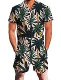 ALISISTER Jumpsuit Herren Sommer 3D Tropical Pflanzen Grafik Kurzen Ärmel Onepiece Jumpsuits...