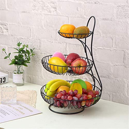 RAILONCH Metall Obst Etagere, Dekorativer Obstkorb Rack Obstschale Obst Schüssel Obst Halter Küche Ablagekörbe für Obst & Gemüse, Gold/Schwarz (Schwarz,3 Stöckig)