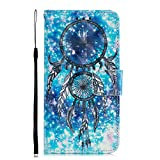 Coopay Fantaisie Motif Attrape Reve Flip Cover Coque pour Samsung Galaxy J3 2017 Glitter Bleu Effet...