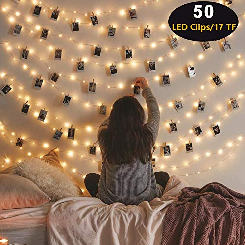 2019 Upgrade Version 50 LED Photo Clip String Lights...