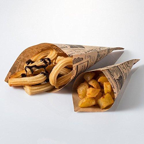 Cono de papel antigrasa para alimentos estilo vintage. Ideal delivery, take away y comida para llevar. Papel idóneo para bocadillos sándwich hamburguesas 205x300x200 mm - Pack 100 uds